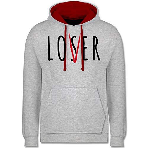 (Shirtracer Halloween - Loser Lover Club - XXL - Grau meliert/Rot - JH003 - Kontrast Hoodie)
