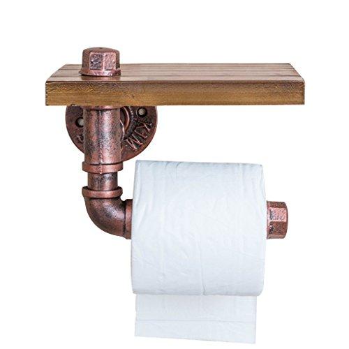 QI FANG BUSINESS Accessoires WC Support de rouleau de papier toilette Support de serviette de bois Plateau de téléphone portable Vintage Salle de bains en fer forgé étagère murale