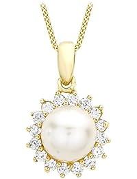 Carissima Gold Damen-Kette white gold Adjustable Curb Chain 41-46cm Rund Süßwasser-Zuchtperle