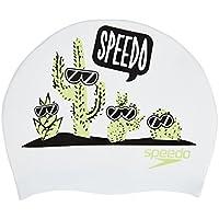 Speedo 808386C616 Gorra de natación, Unisex niños, Blanco/Verde Manzana/Negro, One Size