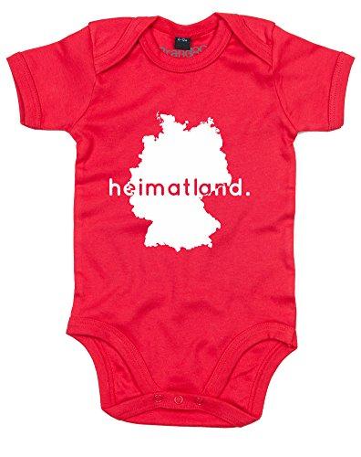 Heimatland, Gedruckt Baby Strampler - Rote/Weiß 0-3 Monate