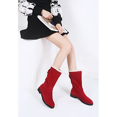 Gll & Xuezi Bottines Pour Femmes Bottes Confortables Et Innovantes Printemps Hiver Faux Cuir Casual Bow Plat Noir Rouge 2,5 - 4,5 Cm Noir