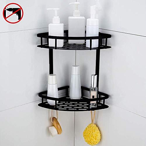 Hoomtaook Bandeja de baño triangular negra, Cesta de ducha, Rinconera, Aluminio aeroespacial, Organizador de baño, Montaje en pared sin taladro, Adhesivo, 2 niveles