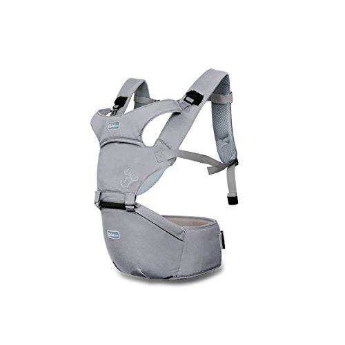 Sonarin front premium hipseat baby carrier,multifunzionale,ergonomico,100% cotone,fibbia rotante a farfalla,6 portanti, sicuro e comodo,adattato al crescere del tuo bambino,regalo ideale(grigio)