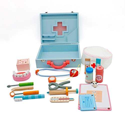 Medical Doctors Set Wooden Toy Kit, Kids Blue Doctor toys For Young Children Dentist and Nurses. Wooden medicine carry case play set for children. Kids surgical tools games for toddlers boys and girls