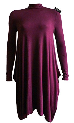 NEUF FEMMES POLO TORTUE HAUT COU MANCHES LONGUES FEMMES FLARE SWING ROBE PATINEUSE 8-26 Bordeaux
