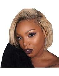 Coloré(TM) Wig Perruque avec des cheveux de bébé Cheveux humains Full End Short Bob Perruques pour les femmes noires (Or)