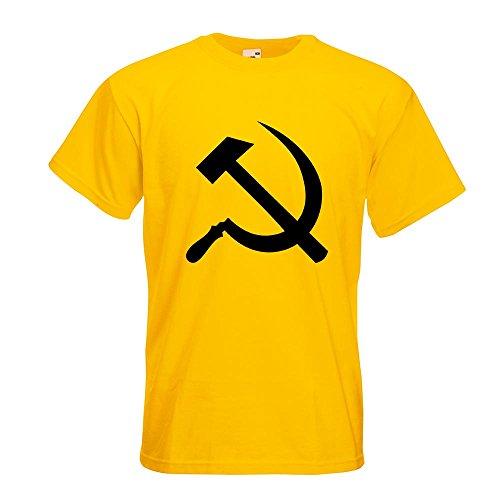 KIWISTAR - Hammer und Sichel T-Shirt in 15 verschiedenen Farben - Herren Funshirt bedruckt Design Sprüche Spruch Motive Oberteil Baumwolle Print Größe S M L XL XXL Gelb