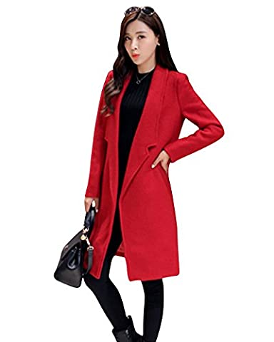LaoZan Femme Manteau Veste longue Trench Coat Mélange de laine Pour Hiver Parka XS rouge