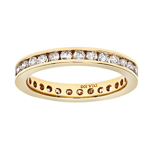 Naava Women's 18 ct Yellow Gold 1 ct Diamond Channel Set Eternity Ring, Size N