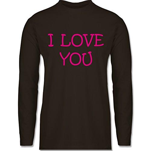 Shirtracer Valentinstag - I Love You - Herren Langarmshirt Braun