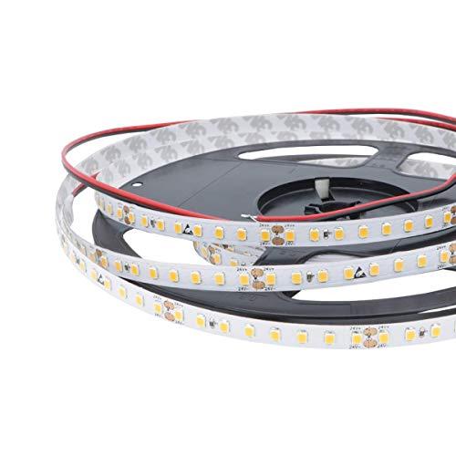 iluminize LED-Streifen: hocheffizienter LED-Streifen mit 128 LEDs pro Meter, 120lm/W, SMD2835, 8 mm breit, hoch selektiert, 24V, 8,6W pro Meter, 5 m auf Rolle (2700K Ra 80 IP65NANO)