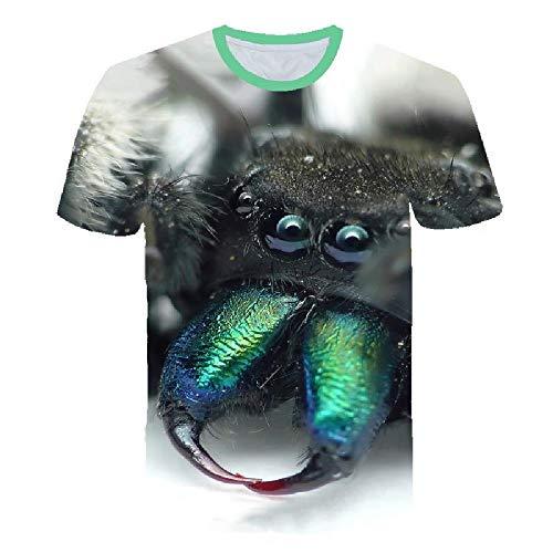 3D-Druck T-Shirt lässig Herrenbekleidung Straße Hip-Hop Herren Rundhals-Shirt, Spinne Digitaldruck M - Lee T-shirt Hat
