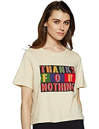 People Women's Regular fit T-Shirt (P2C289319929900_Sand_X-Small)
