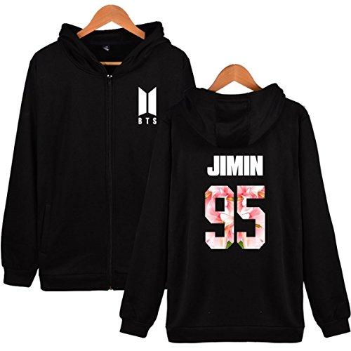 SIMYJOY BTS Fans Felpa Zip con cappuccio KPOP Pullover Hip Hop Felpa per Uomo Donna Adolescente nero-95