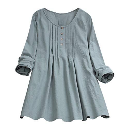 KOKOUK LäSsiges ro-Hemdoberteil Aus Baumwolle Und Leinen Frauen Casual Plus Size Solide Lose Leinen Knopf Tunika Hemd Bluse Tops (Mike-sport-bh)