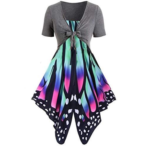 Auied Frauen Sommer frisch Schmetterling Print Hohe Taille Kleid Sling Set Cardigan Zweiteiliges Set ()