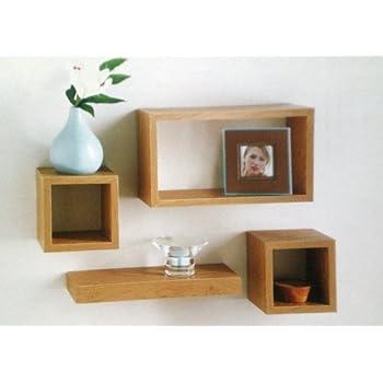 Set Of 4 Floating Wall Storage Display Book Cubes Shelves Stand Shelf (Oak  Effect)