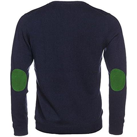 L. Bo Apparel, Patchwork Collection: Pullover da Uomo Blu con Scollo a V e Patch Gomiti BEIGE, MARRONI, BLU, VERDE