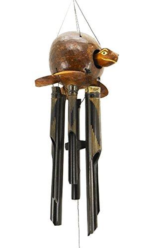 Ciffre Premium 80cm Windspiel Holz Feng Shui Klangspiel Geschnitzt Kokosnuss Schildkröte Geschnitzt Guter Klang