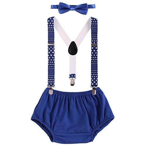 Shorts + Fliege + Clip-on Hosenträger 3PCS Bekleidungssets Neugeborenen Kinder 1. / 2. Geburtstag Outfit für Foto-Shooting Kostüm für Unisex Säugling Jungen Mädchen 3-24 Monate (Jungen Clip-on-krawatten)