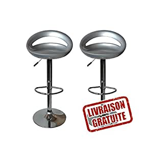 Lot de 2 tabouret de bar snack gris cuisine - Amazon tabouret de bar ...
