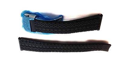 """22/correas reloj 18mm negro con relieve """"diseño de los neumáticos de goma cierre de plata, para que se ajuste a TAG Heuer"""