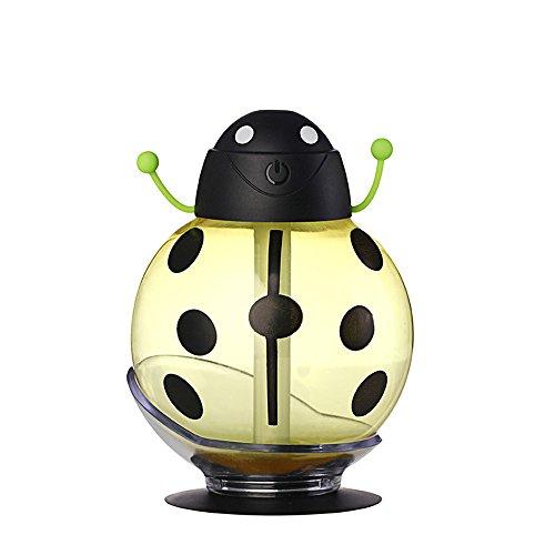SUNLMG Kühlluftbefeuchter Luftbefeuchter Luftreiniger Tragbare 360 Grad-Drehung Kreative Cartoon Beetle Skin Nachschub Ultraschall Mini Auto Luftbefeuchter USB Lufterfrischer,Yellow