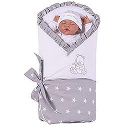 Sevira Kids - Manta de arrullo (con colchón de repuesto removible), varios colores blanco estrellas Talla:recién nacido - 3/4 meses aprox. 80 x 80 cm