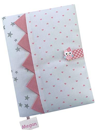 Cadeau de Naissance - Protège-Carnet de Santé personnalisé - Oiseau Rose