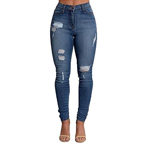 ZKOO Femme Denim Pantalons Taille Haute Jeans Slim Leggings Collant Crayon Casual Déchiré Pants M