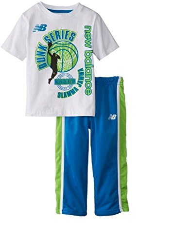 Little Boys 2 St¨¹ck Tee und Trikot Hose Set Dunk Serie, Wei? / Blau (3T) (Tee Baumwoll-performance-pocket Herren)
