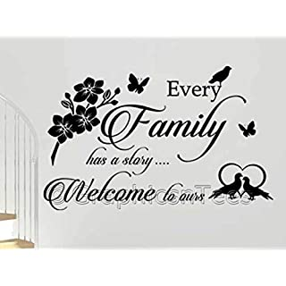 Graphics 'n' Tees -Family Wall Sticker, Every Family has a Story Welcome to Ours Wall Quote Home Decor Decal - 20 Colour Choices (Extra Large 1220mm x 770mm)
