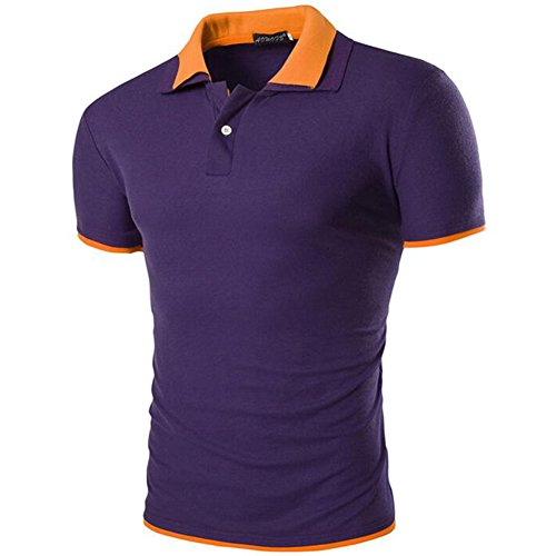 Glestore Herren Poloshirt, Einfarbig Gr. S, Schwarz - Vert clair Noir … Violett mit Orange