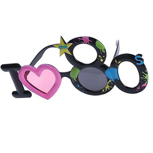 rille I Love 80s Sonnenbrille Spaßbrille 80er Jahre Kostüm Brille Gläser Foto Props Dekorationen Requisiten für Geburtstagsparty ()