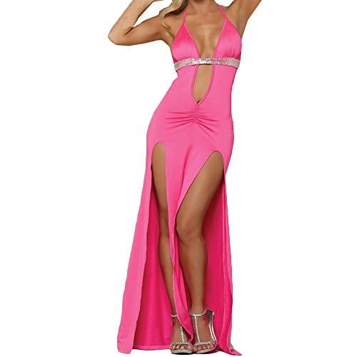 WUSIKY Mode Sexy Dessous Damen Erotisch Tiefer V Ausschnitt Lange Rock Nachtwäsche G-String Ouvert Nachtwäsche (Hot Pink,M)