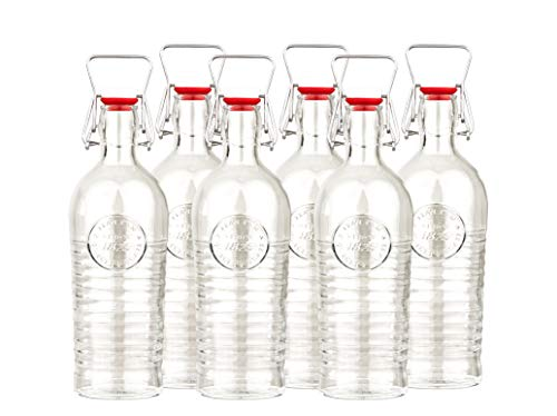 Bormioli 6er Set Glasflaschen/Einmachgläser Officina 1825 - Mit Relief und Riffelung - Italienische Qualität - Ideal für Einkochen, Getränke, Fermentierung, Dekoration -