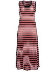 Femmes Maxi Dress Plus Size manches rayé tissu léger tour été cou