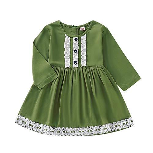 nkind Langarm Kleid Baby Spitzenrock Kid Party Kleid Mädchen Prinzessin Kleider Mädchen Casual Rock Kleidung ()