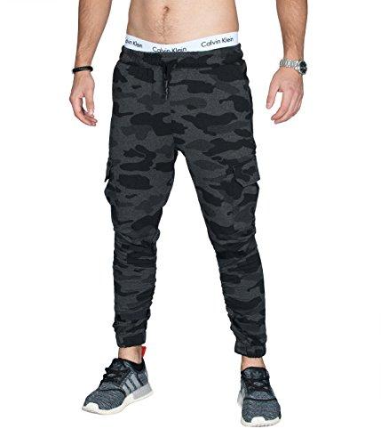 Air Jordan 3 Cool Grey (BetterStylz MartyBZ Cargo Jogginghose Slim Fit Sweatpants Jogger Fitness Trainingshose Klettverschluß 3 Farben (S-XXL) (XXL, Schwarz Camouflage))