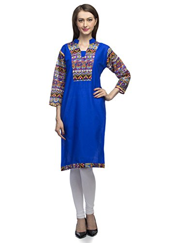Indietoga women Fancy Plain Blue Half Band Multi color Print Yoke and 3/4th Sleeve Cotton casual party wear Kurtis for girls