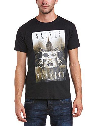 Minted Fashion Herren Slim Fit T-Shirt Schwarz - Schwarz