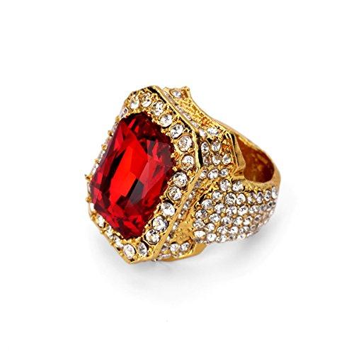 Nyuk uomo rosso gemma diamante hip hop oro 18K lega unisex personalità anello, Acciaio inox e oro, colore: 9, cod. LC00223