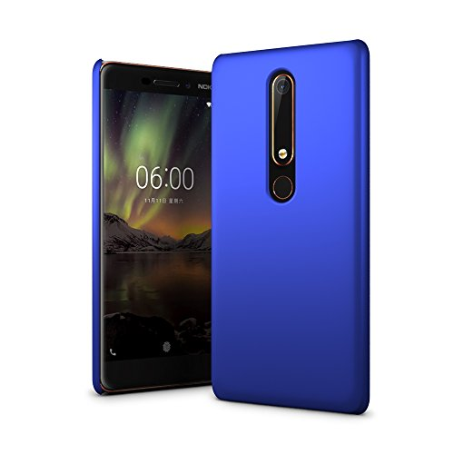 SLEO Hülle für Nokia 6.1/Nokia 6 2018 Hülle Harte PC SchutzHülle [Anti-Fingerabdrücke] Stilvolle [Soft-Touch] Rückseite Tasche für Hülle für Nokia 6.1/Nokia 6 2018 - Blau