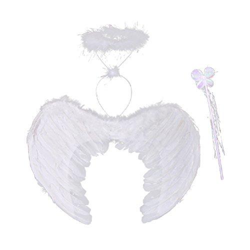 n Feder Engelsflügel Kostüm mit Halo und Zauberstab Mädchen Kostüm für Cosplay Maskerade Karneval Party (S) ()