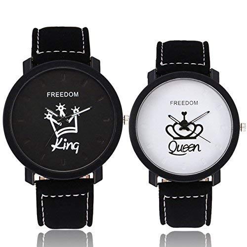 LXT&YY Fashion Liebhaber Paar King Queen Leder Uhr (mit Geschenkbox) Unisex Herren Damen Damen Krone Casual Studenten Geschenk Quarzuhr
