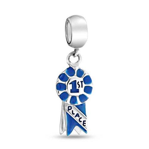rt Blue Ribbon Sieger Kreis Baumeln Charm Perle Für Damen Jugendlich Sterling Silber Passt Europäischen Armband ()