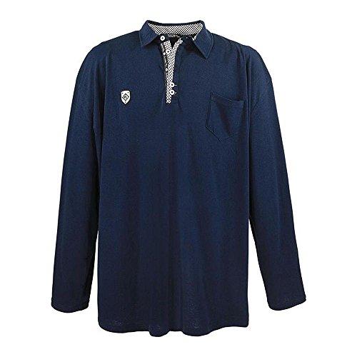 Übergrössen !!! WOW !!! Hippes Polo-Shirt Langarm LAVECCHIA in 2 Farben 3857 Navy
