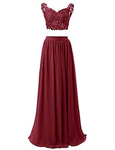WADAYUYU Damen A-line Elegant Abendkleider Abendkleid Lang Ärmellos Ballkleider Brautjungfernkleid 2017 Mit Applique Burgund 32 -