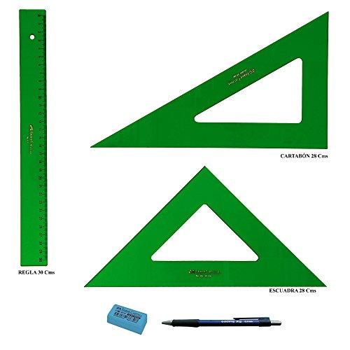 PACK LOTE Faber Castell Técnico - Regla 813-30 Cms + Escuadra 566-28 Cms + Cartabón 666-28 Cms + REGALO